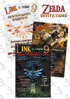 Zelda/Link Invitations + Party Supplies Available. Ideas Party, Diy Party, Party Themes, Party Favors, Party Plates, Party Cups, Custom Party Invitations, Disney Scrapbook, 9th Birthday
