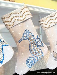 Sea Life Hand Painted Christmas Stockings Sea Horse, Crab, Shark, Jellyfish, Sea Turtle, Starfish Designs