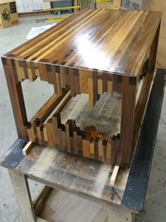 Scrap wood strips coffee table