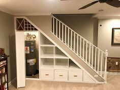 The essential point here is that there ought to be correct area for an Adirondack chair, tables, baskets and any devices. Basement Makeover, Basement Renovations, Home Renovation, Home Remodeling, Staircase Storage, Stair Storage, Staircase Design, Cabinet Under Stairs, Laminate Flooring Basement