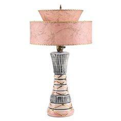 1950s Ceramic Table Lamp With a Fiberglass Lamp Shade