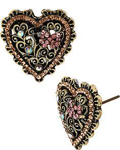 VINTAGE PINK HEART STUD EARRING PINK accessories jewelry earrings fashion