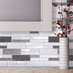 Upgrade your kitchen backsplash to a contemporary look with the Aluminum Glass Tile Backsplash Ice Blend. This mosaic tile combines glass and aluminum tiles and it is suitable for kitchen backsplash, bathroom, fireplace surround, and feature wall. Decor, Kitchen Backsplash Designs, Fireplace Surrounds, Kitchen Remodel, Home Remodeling, Kitchen Tiles Backsplash, Modern Farmhouse Kitchens, Bathroom Decor, Glass Tile Backsplash