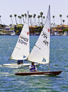 Lasers racing on Alamitos Bay in Long Beach California  LBSC raced Lehman 10's, Flying Jrs.