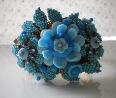 Stanley Hagler Turquoise Floral Hinged Bracelet Ian St. Gielar Vintage 60's