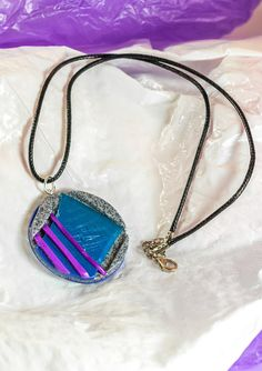 80's style futuristic round polymer clay pendant - beautiful one-of-a-kind, unique design with chain or cord necklace