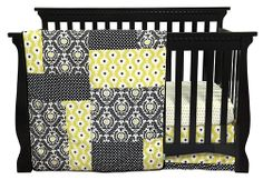 Waverly Baby Crib Bedding, Black White Green Damask Crib Bedding