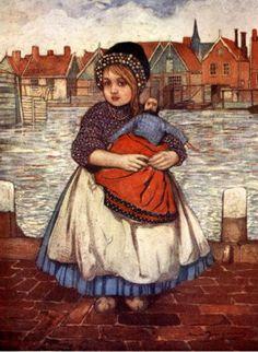 A Girl with a Doll by Nico Wilhelm Jungmann, (1872 – 1935, Dutch)