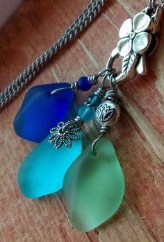 3 Piece Set Sea Glass Jewelry Necklace Flower Chunky Bright Colorful Aqua Blue #Handmade #Pendant