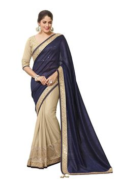 Navy Blue Half & Half Border Saree