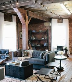 An Empty Loft Becomes Warm and Inviting Empty Loft Living Room Makeover – American Dream Builders Makeover – House Beautiful Living Pequeños, Home And Living, Living Spaces, Modern Living, Loft Interior, Living Room Interior, Living Room Decor, Masculine Living Rooms, Masculine Room