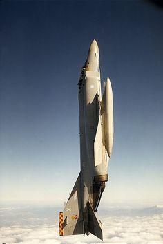 F-4 Phantom in full vertical flight. (with external fuel tanks)...
