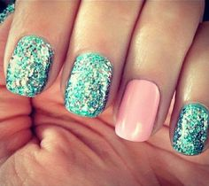 Glitter nails and one solid color accent nail