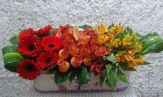 Arreglo floral en tres colores