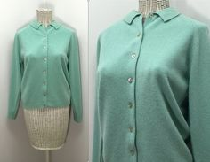 Seafoam Green Sweater by Pandora // Vintage by WEVco on Etsy Green Cardigan, Sweater Cardigan, Unique Vintage, 1950s, Women's Clothing, Overalls, Ready To Wear, Pandora, Mid Century