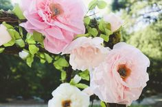 The giant handmade flowers in Brett and Laura's wedding are just the beginning of a total showstopper garden inspired wedding shot by Whitney Darling Photo Paper Flowers Wedding, Tissue Paper Flowers, Wedding Paper, Floral Wedding, Fabric Flowers, Paper Roses, Rustic Wedding, Giant Flowers, Faux Flowers