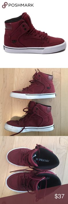Boys Supra Vanderbilt hi top Burgundy. Worn once for photos Supra Shoes Sneakers