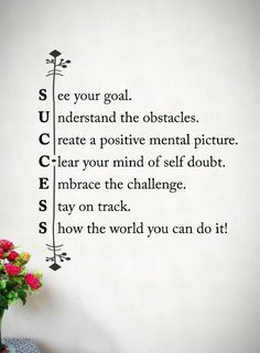 Quotes See your Goal. Understand the obstacles, Create a positive mental picture. Clear your mind of self doubt. Embrace the challenge. Stay on track and show the world you can do it.