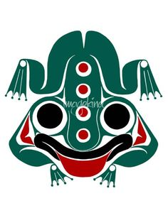 """""""Messenger Frog  hlkyan"""" by Lon French, Victoria // Spring & New Life, Stability. Frog is a symbol of prosperity, considered friendly as it is said he warns humans of imminent danger. Communicator with beings from both worlds, and serves as a mediator. In Haida culture, the Frog is often shown on House posts because it is bel... // Imagekind.com -- Buy stunning fine art prints, framed prints and canvas prints directly from independent working artists and photographers."""