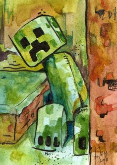 Minecraft Creeper - Print of Original Watercolor Painting - x x Minecraft Songs, Creeper Minecraft, Watercolor And Ink, Watercolor Paintings, Watercolors, Ebook Cover Design, Ink Illustrations, Creepers, Gifts For Family