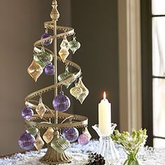 """Vintage Spiral Stand: Tabletop tree is also perfect as an organizer for jewelry; 24 ornament hooks included. (10"""" diameter x 25"""" tall)"""