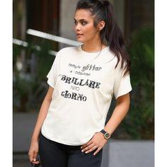 Tee-shirt lettres métallisées manches courtes