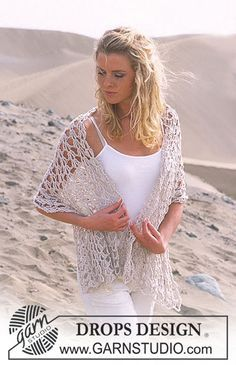 """DROPS Wide crochet scarf in """"Bomull-lin"""" ~ DROPS Design. Free pattern."""