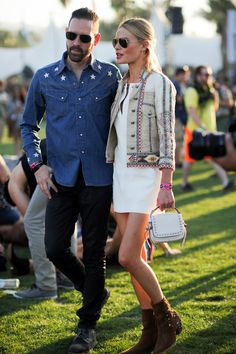 The actress Kate Bosworth and her husband, Michael Polish, show off their festival style at Coachella.
