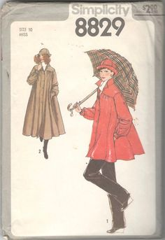Simplicity 8829 Misses Tent RainCoat Jacket and Hat Pattern Womens Back Pleat Vintage Sewing Pattern Size 10 Bust 32 UNCUT Green Raincoat, Raincoat Jacket, Hooded Raincoat, Long Raincoat, Hat Patterns To Sew, Simplicity Sewing Patterns, Vintage Sewing Patterns, Coat Patterns, Clothing Patterns