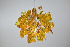 Yellow Pendant light, lighting, Ceiling Lamp with leaves and flowers for bathroom, children room, kitchen island - unique pendant light. Ceiling Chandelier, Ceiling Pendant, Pendant Lamp, Pendant Lighting, Chandeliers, Yellow Pendants, South Shore Decorating, Resin Flowers, Chandelier