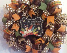 Fall wreath/ mesh wreath/Harvest Blessings by Wreaths4u2byPaula