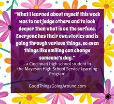 What a learned from Judging Others, High School Students, Student Learning, Positive Thoughts, Cincinnati, Wisdom, Good Things, Teaching, Quotes