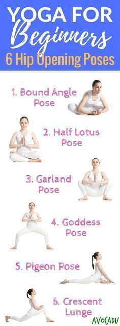 Yoga for Beginners, 6 Hip-Opening Poses. These yoga poses for beginners will help to relieve lower back pain, increase flexibility for the splits, and release tension from sitting down all day long. Vinyasa Yoga, Yoga Bewegungen, Sup Yoga, Yoga Moves, Ashtanga Yoga, Yoga Meditation, Yoga Exercises, Hip Stretches, Hip Opening Stretches