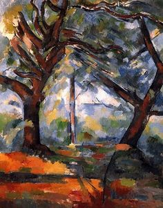 Les grands arbres (1902-1904)-Paul Cézanne This painting is beautiful - it's restful, colourful and atmospheric. As I'm looking at paint application in particular, it is this aspect that has hooked me. The broad brush strokes of colour, which appear almost random, although most certainly are not, gives the impression of dappled light. The colours are not mixed but carefully placed next to each other to achieve the desired result. Wish I could do this!