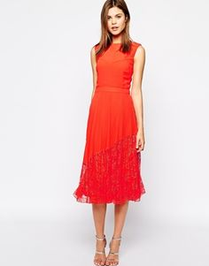 Warehouse Pleated Lace Hem Midi Dress
