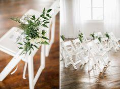 simple green white wedding aisle