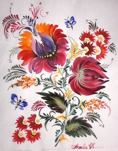 my work, PETRYKOVKA PAINTING (проба акварели**) Tole Painting, Artist Painting, Ukrainian Art, Russian Folk, Easy Paintings, Primitive Folk Art, Outsider Art, Colorful Flowers, Folklore