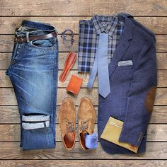 Men's Blue Fashion Grid Photo
