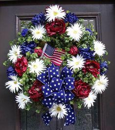 Memorial Day Wreath Of July Wreath Patriotic Wreath Americana Summer Wreaths Front Door Wreath Decoration by sylvia Patriotic Crafts, Patriotic Wreath, July Crafts, 4th Of July Wreath, Patriotic Party, Wreath Crafts, Diy Wreath, Wreath Ideas, Wreath Making