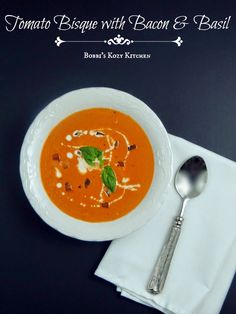 This Tomato Bisque with Bacon and Basil is so rich and creamy you will want to eat the whole pot!