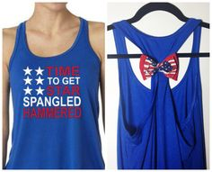 Time to Get Star Spangled Hammered, 4th of July Tank, American Flag Bow Tank Top, on Etsy, $27.95