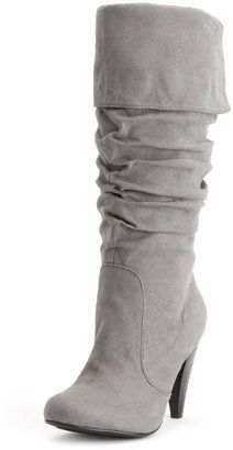 7e1486446a19 Charlotte Russe Cuffed Faux-Suede Heel Boot - ShopStyle