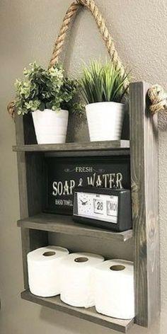 Bathroom Storage Shelf - Rustic Wood & Rope Bathroom Shelf - Cabin Home Decor - Medicine Cabinet - Toilet Paper Holder #bathroomdecor #bathroom #storage #homedecor #bathroomideas #sign #toiletpaper #affiliate