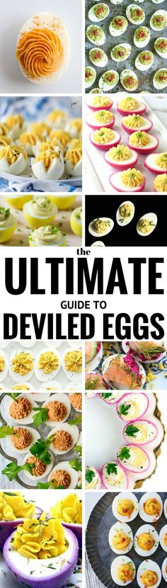 The ULTIMATE Guide to Deviled Eggs ~ 50 + fabulous deviled eggs for every occasion ~ is there anything better than these perfect little packages of protein packed goodness? These versatile snacks come in all and I think they're the tastiest way to get any party started! | appetizers | Entertaining | Dyed eggs | Holiday appetizers | finger food | party food | round-up |