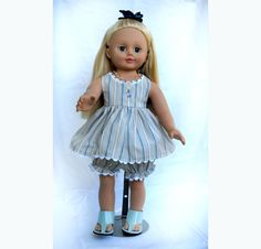 18 inch Doll Clothes Fits Like American Girl Doll Clothes Journey Alexander My Life Generation Blue White Play Sundress Doll Clothes Sandals by jagartist on Etsy