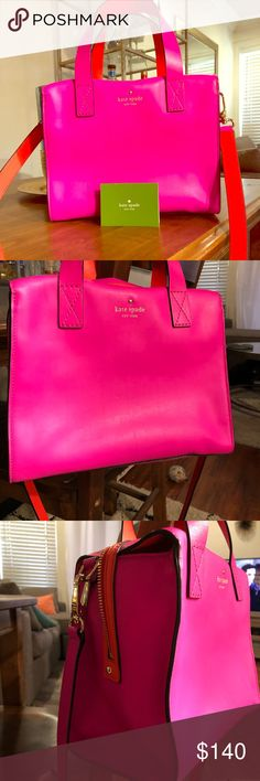 Kate Spade *Hot Pink* Shoulder bag Hot Pink Kate Spade Bag with long shoulder strap and super cute orange trim. Only used a couple of times, like new! kate spade Bags Shoulder Bags