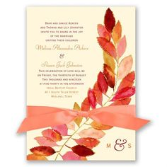 Fall wedding invitation: an artistic illustration in vibrant hues, what an incredibly unique introduction to your fall wedding.