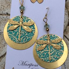 These lovelies will definitely stand out in a crowd! Also a perfect gift for the holidays. Enameled teal patina over bright brass. A sure winner! Dragonfly Jewelry, Insect Jewelry, Enamel Jewelry, Copper Jewelry, Beaded Jewelry, Gold Jewellery, Fall Jewelry, Jewelry Crafts, Stud Earrings