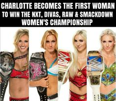 If you count the NXT women's title and the godawful divas title, Charlotte is tied for the most women's title reigns at So she's tied with Trish Stratus. Wrestling Stars, Women's Wrestling, Charlotte Flair Wwe, Trish Stratus, Ric Flair, Wwe Champions, Raw Women's Champion, Wwe Womens, Female Wrestlers