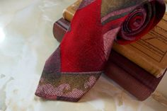 Men's Vintage Neck Tie Pure Silk Red Patterned 1980's by Jean Latour - Made in UK - pinned by pin4etsy.com